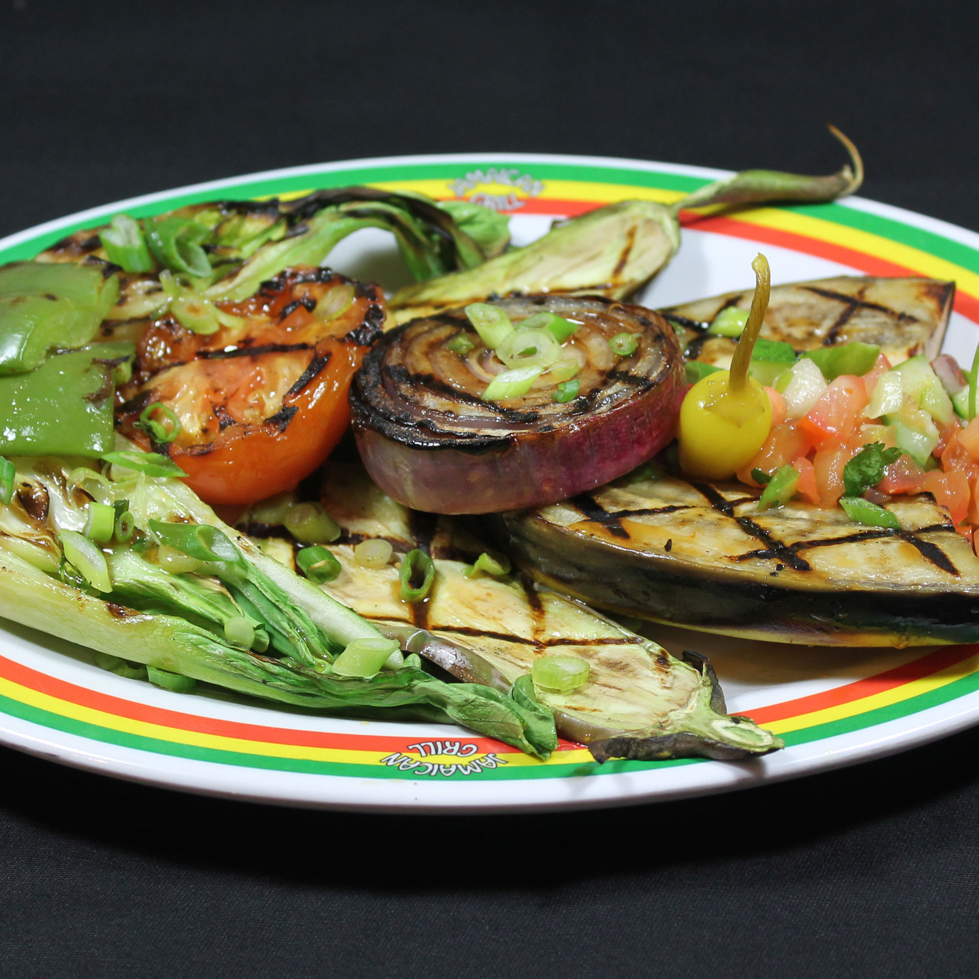 "Grilled ""Jerk"" Seasoned Vegetables with Fruit-Soy Dressing"